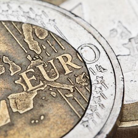 1 euro: Euro coins super close-up. Shallow DOF!