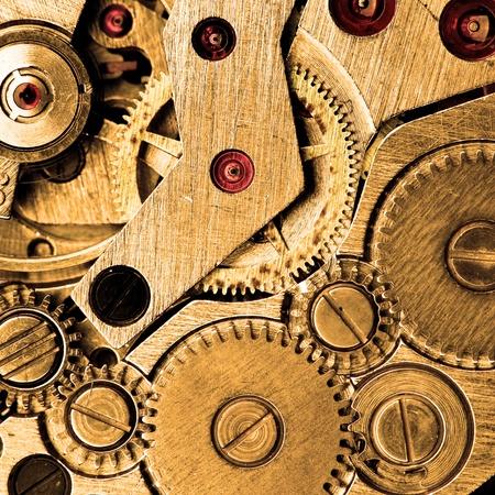 coordinacion: Mec�nica de macro s�per de reloj de pulsera sepia moderado. Foto de archivo