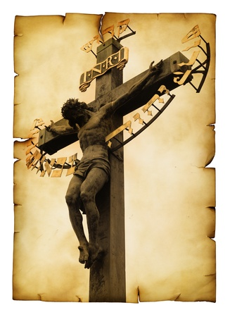 Vintage postcard (imitation) with The Crucifixion close-up photo