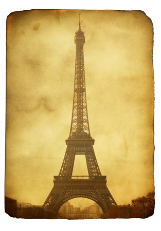 Vntage postcard (imitation) with Eiffel tower isolated over white background Standard-Bild