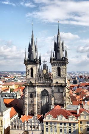 tyn: Church of Virgin Maria Before Tyn, Prague, Czech republic  Stock Photo