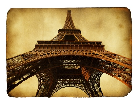 Imitation of vntage postcard with Eiffel tower photo