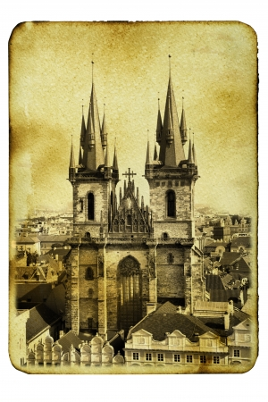 tyn: Vintage postcard (imitation) with Church of Virgin Maria Before Tyn in Prague Stock Photo