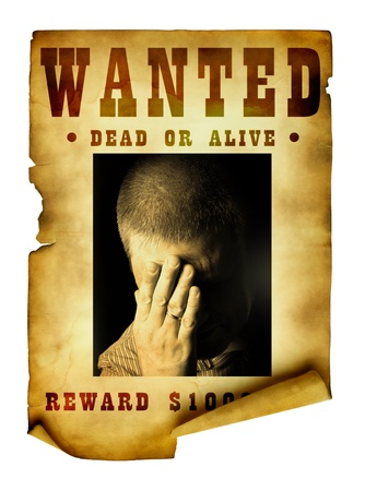 desperado: Vintage wanted poster isolated over white background Stock Photo