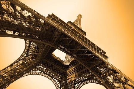 Eiffel tower sepia toned, Paris, France. Stock Photo - 9416757