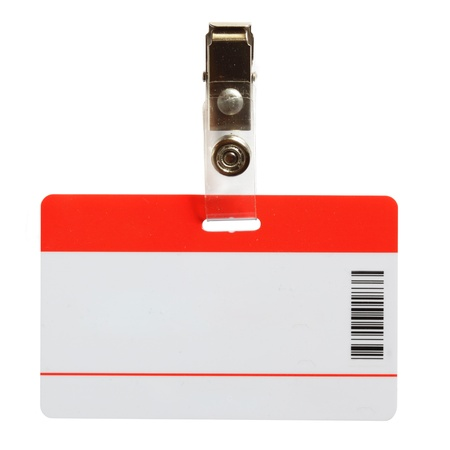 Blank badge close-up isolated over white background Stock Photo