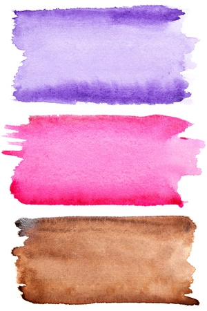 pink paint: Colorful watercolor brush strokes isolated over white background Stock Photo
