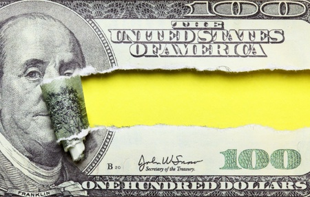 Torn dollars banknote with space for your own text photo