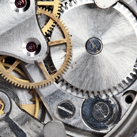 Clockwork of wristwatch super close up photo