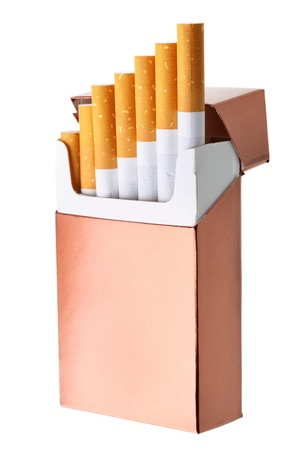 packs: Cigarette box isolated over the white background Stock Photo