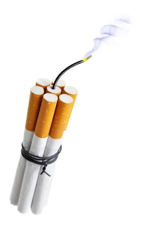 cigarette smoke: Cigarette bomb isolated over the white background