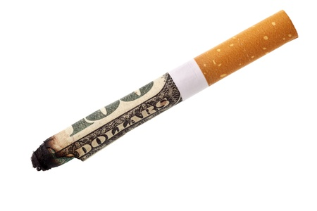 Expenditure for smoking - cigarette butt isolated over white background