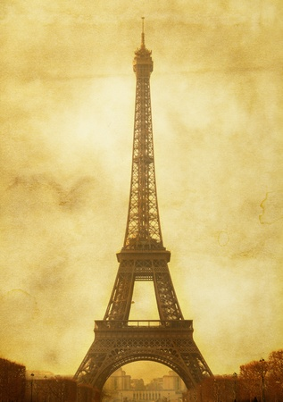 Vntage postcard (imitation) with Eiffel tower photo