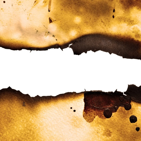 Burnt paper background with pure white space for your own text photo