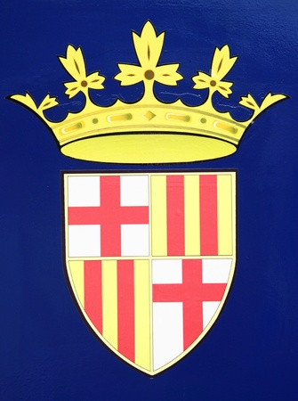 Barcelona city coat of arms close-up photo