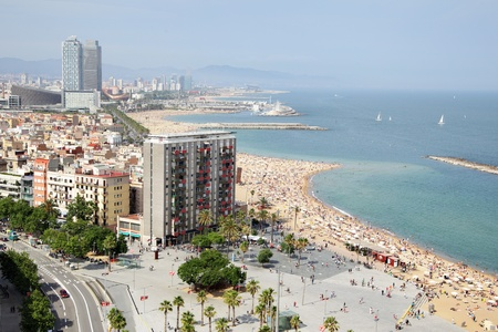 barcelona cathedral: View to Barceloneta district and beach, Barcelona, Spain