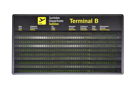 departure board: Blank airport timetable isolated over white background