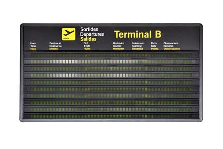 Lege luchthaven tijdschema geïsoleerd op witte achtergrond