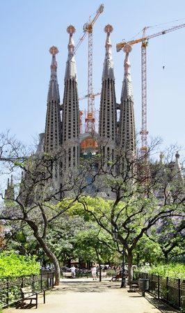 BARCELONA, SPAIN - JUNE 14: The La Sagrada Familia is under construction.  La Sagrada Familia  designed by Gaudi, which is being build since 1882 and is not finished yet June 14, 2011 in Barcelona, Spain.