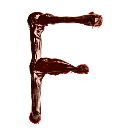 F - Colorful oil painted alphabet isolated over the white background photo