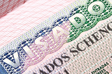 Macro shot of Spanish Schengen visa in passport photo