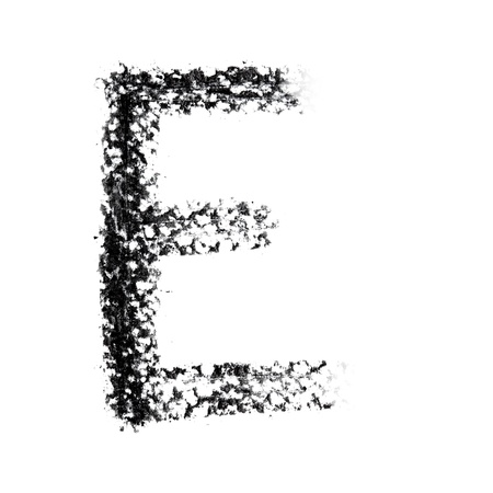 pictured: E - Hand-written alphabet isolated over the white background