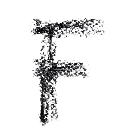 F - Hand-written alphabet isolated over the white background photo