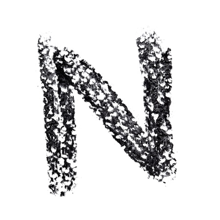 N - Hand-written alphabet isolated over the white background photo