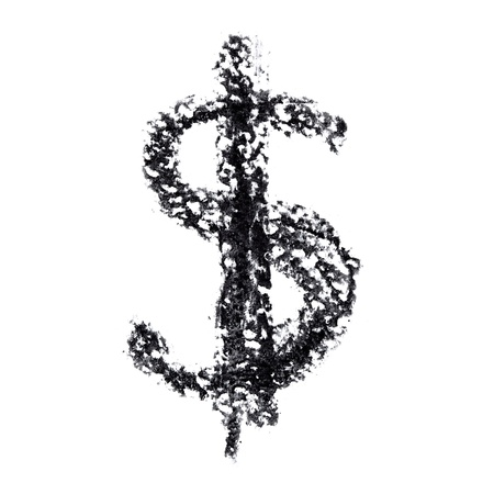 Dollar sign - Hand-written alphabet isolated over the white background photo