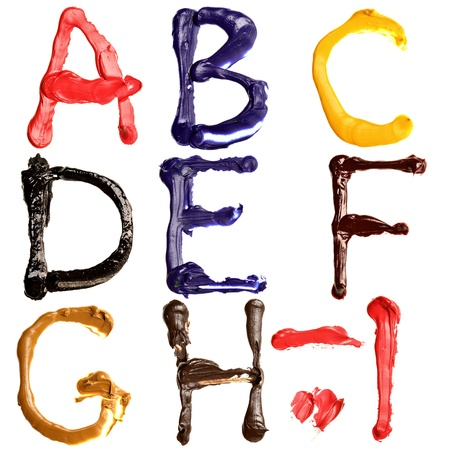 Colorful oil painted alphabet, Letters A - I photo