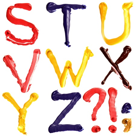 Colorful oil painted alphabet, Letters S - Z Stock Photo - 10207292