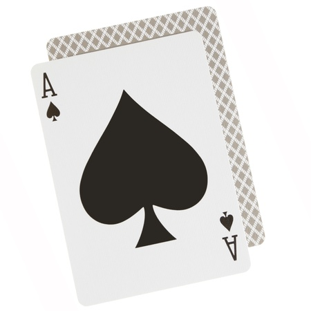 Ace spades close-up isolated over white background