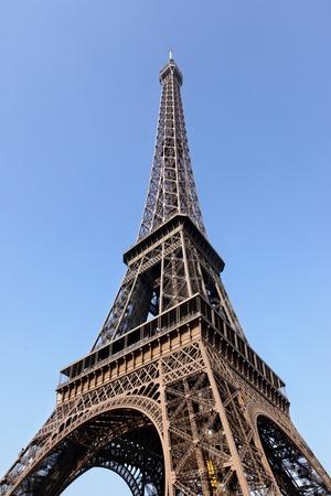 Eiffel tower close-up against blue sky, Paris, France. Stock Photo - 10421946