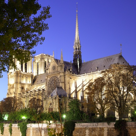 Evening view of Notre Dame de Paris, France photo