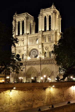 Night view of Notre Dame de Paris, France