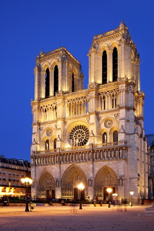 Night view of Notre Dame de Paris, France
