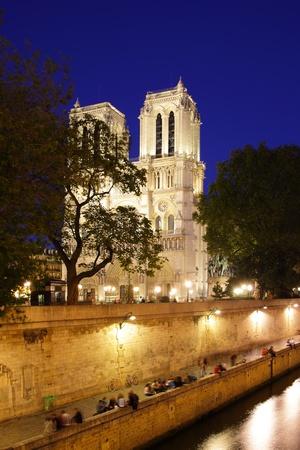 Evening view of Notre Dame de Paris, France