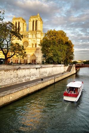 Vew of Seine quay and Notre Dame de Paris, France
