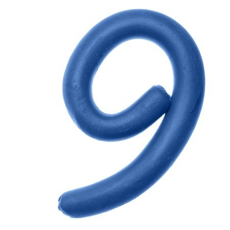 educaton: 9 - Plasticine digits isolated over the white background Stock Photo