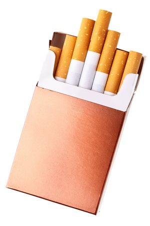 danger box: Cigarette pack isolated over the white background