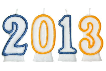 0 1 year: new year 2013 - candles isolated over the white background