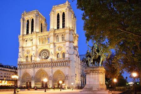 notre: Notre Dame de Paris at evening, France