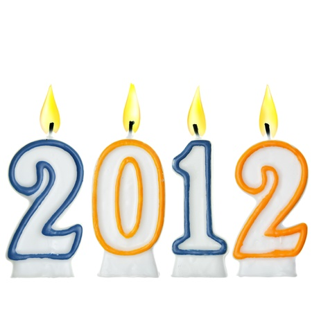 0 1 year: New Year 2012 - candles isolated over the white background