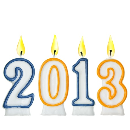 New Year 2013 - candles isolated over the white background photo
