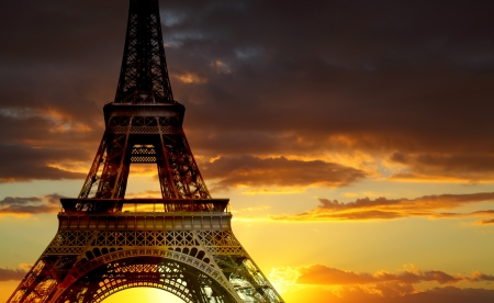 Eiffel tower at sundown, Paris, France photo