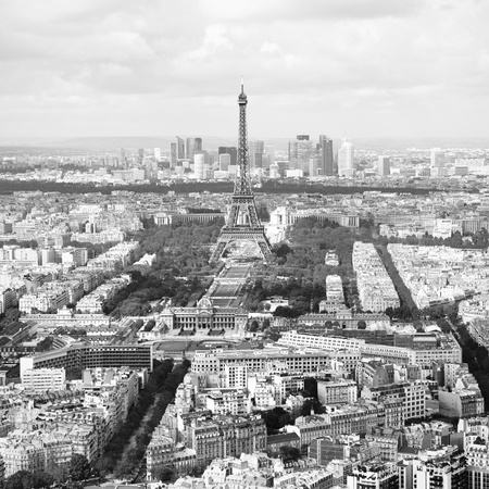 Aerial view of Paris, France.  Black and white image. photo