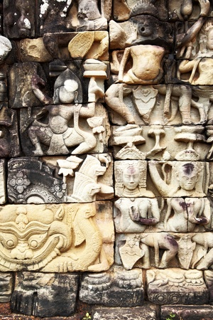 bas: Khmer stone carving in Angkor Thom, Cambodia Editorial
