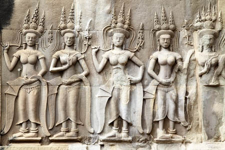 stone carving: Apsaras - khmer stone carving in Angkor Wat, Cambodia