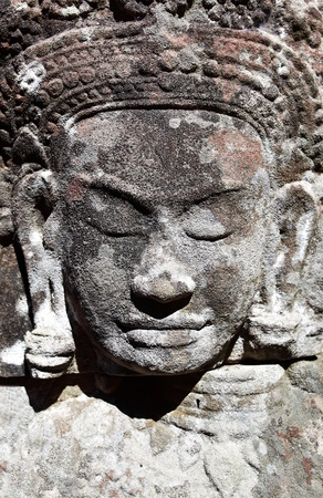 khmer: Ancient khmer stone carving in Angkor Wat, Cambodia Stock Photo