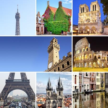 western europe: Europe - set of european landmarks